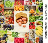 collage of fruits and... | Shutterstock . vector #571398730