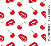 seamless pattern with red lips... | Shutterstock .eps vector #571400500