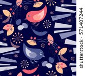 seamless background with birds...   Shutterstock . vector #571407244