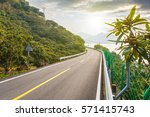 winding lake  road   | Shutterstock . vector #571415743