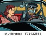 robot autopilot car  woman... | Shutterstock .eps vector #571422556