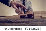 retro image of businessman... | Shutterstock . vector #571426294