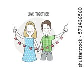 happy couple holding hearts ... | Shutterstock .eps vector #571436560