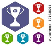 winner cup icons set rhombus in ... | Shutterstock .eps vector #571438096