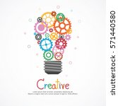 gears light bulb for ideas and... | Shutterstock .eps vector #571440580
