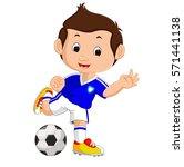 cartoon boy playing football   Shutterstock . vector #571441138
