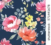 vector watercolor  floral... | Shutterstock . vector #571441678