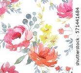 vector watercolor  floral... | Shutterstock . vector #571441684