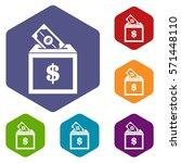 donation box icons set rhombus... | Shutterstock .eps vector #571448110