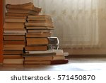 Stack Of Old Yellowed Books On...