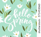 hello spring lettering | Shutterstock .eps vector #571453060