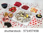 valentines day aphrodisiac food ... | Shutterstock . vector #571457458