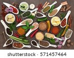 spice and herb sampler with...   Shutterstock . vector #571457464