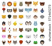 animal faces clip art vector... | Shutterstock .eps vector #571465273