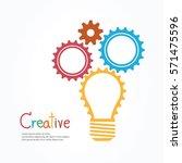 creative light bulb and gear... | Shutterstock .eps vector #571475596
