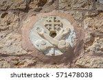 symbol of templars carved in...   Shutterstock . vector #571478038
