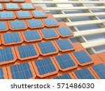 laying solar shingles or tiles... | Shutterstock . vector #571486030