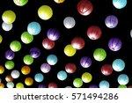 chinese paper lanterns hanging... | Shutterstock . vector #571494286