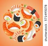 sushi rolls elements   vector... | Shutterstock .eps vector #571495078