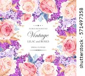 vintage card with lilac and... | Shutterstock .eps vector #571497358