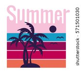 summer poster with sun and... | Shutterstock .eps vector #571501030