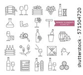 big set symbols of wine and... | Shutterstock .eps vector #571504720