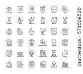 outline icons set. flat symbols ... | Shutterstock .eps vector #571506520
