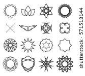 symmetrical geometric black... | Shutterstock .eps vector #571513144
