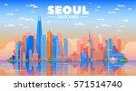 seoul  korea  city skyline on a ... | Shutterstock .eps vector #571514740