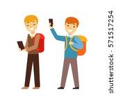 two boys walking from school... | Shutterstock .eps vector #571517254