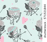 seamless cupid pattern | Shutterstock .eps vector #571521844