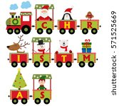christmas train with characters ... | Shutterstock .eps vector #571525669
