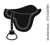 Saddle Icon In Black Style...