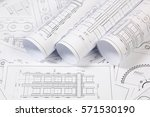 engineering drawings of the... | Shutterstock . vector #571530190