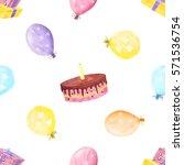 hand drawn watercolor birthday...   Shutterstock . vector #571536754