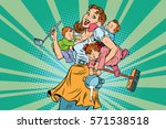 cheerful mother with three... | Shutterstock .eps vector #571538518