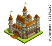 isometric medieval castle... | Shutterstock .eps vector #571541260