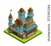 isometric medieval castle... | Shutterstock .eps vector #571541266