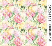 Stock photo watercolor flower floral peony rose seamless pattern textile background 571547260