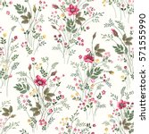 seamless floral pattern with... | Shutterstock .eps vector #571555990