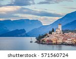 malcesine on garda lake  italy | Shutterstock . vector #571560724