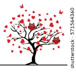 vector illustration of a valentine tree with red hearts, red birds, red owls