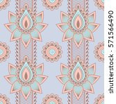seamless asian ethnic floral... | Shutterstock .eps vector #571566490