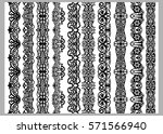 set of ten seamless endless... | Shutterstock .eps vector #571566940