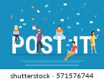 post it concept illustration of ... | Shutterstock .eps vector #571576744