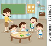 students and teacher in the... | Shutterstock .eps vector #571586773