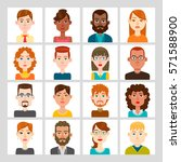 male and female avatar set.... | Shutterstock .eps vector #571588900