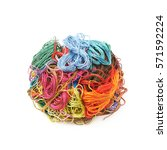 mixed pile of colorful yarn... | Shutterstock . vector #571592224