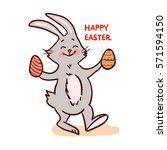 easter bunny isolated on white... | Shutterstock .eps vector #571594150