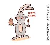 easter bunny isolated on white... | Shutterstock .eps vector #571594168